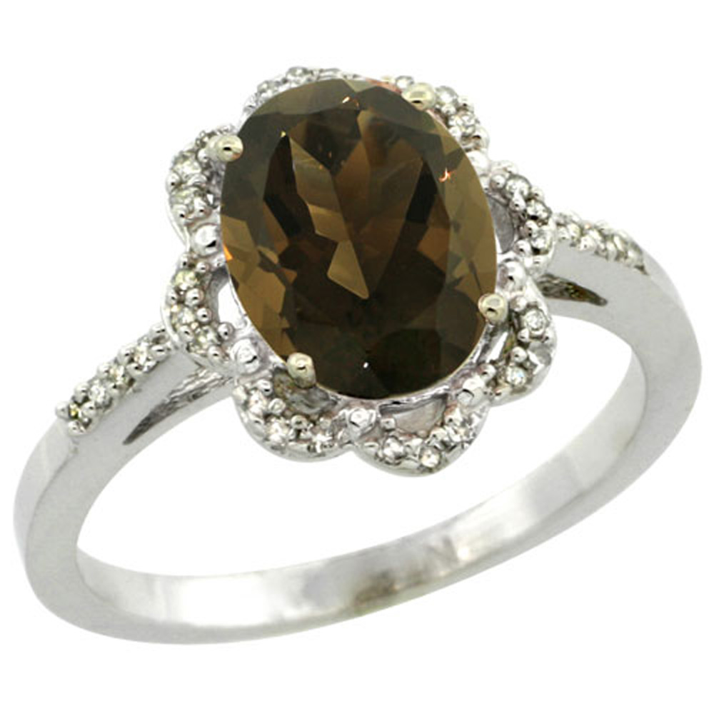 Sterling Silver Diamond Halo Natural Smoky Topaz Ring Oval 9x7mm, 7/16 inch wide, sizes 5-10