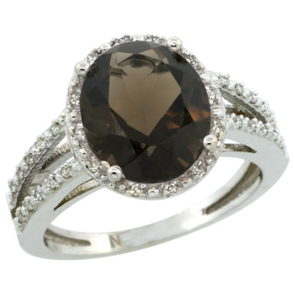 Sterling Silver Diamond Halo Natural Smoky Topaz Ring Oval 11x9mm, 7/16 inch wide, sizes 5-10