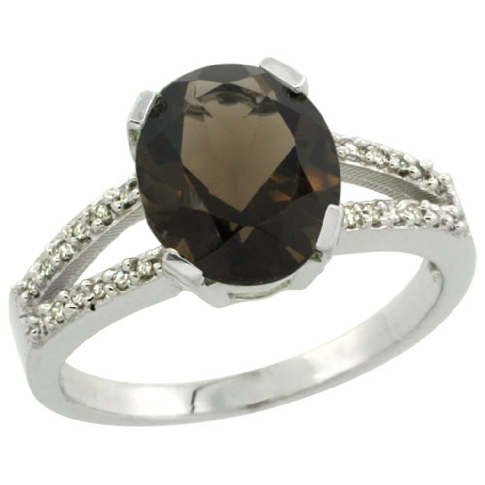 Sterling Silver Diamond Halo Natural Smoky Topaz Ring Oval 10x8mm, 3/8 inch wide, sizes 5-10