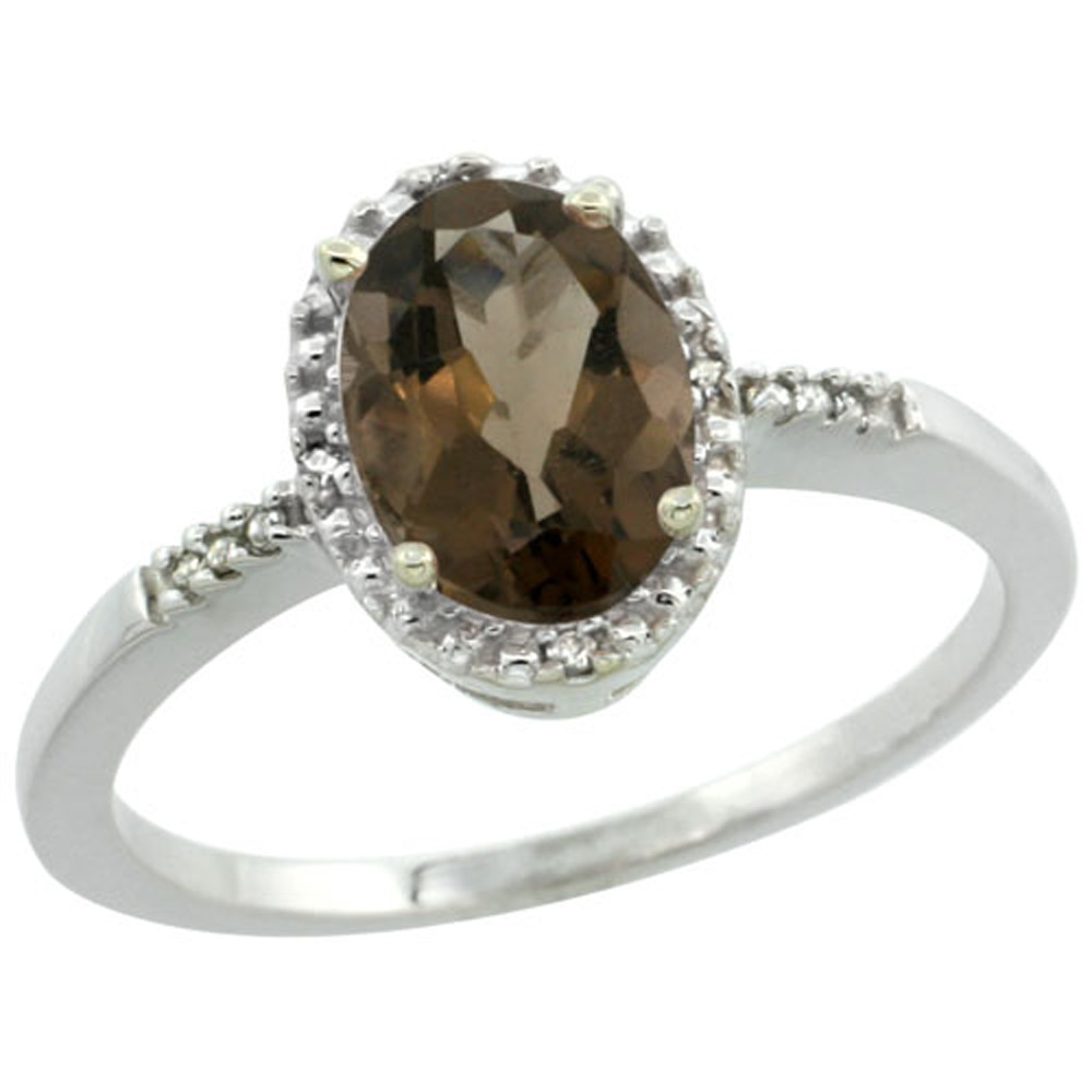 Sterling Silver Diamond Natural Smoky Topaz Ring Oval 8x6mm, 3/8 inch wide, sizes 5-10