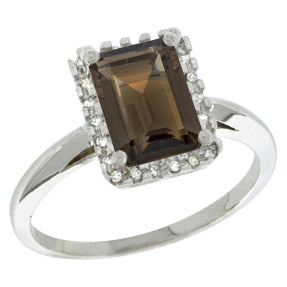 Sterling Silver Diamond Natural Smoky Topaz Ring Emerald-cut 8x6mm, 1/2 inch wide, sizes 5-10