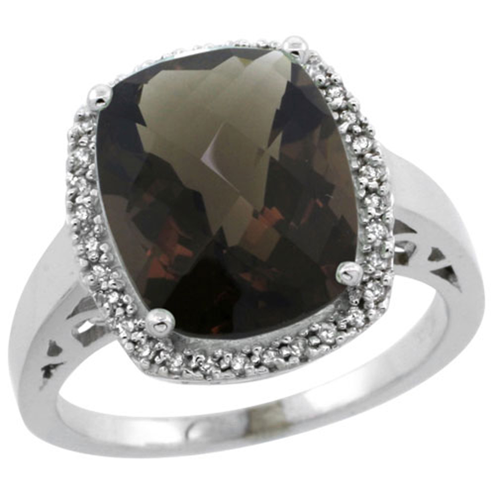 Sterling Silver Diamond Natural Smoky Topaz Ring Cushion-cut 12x10mm, 1/2 inch wide, sizes 5-10