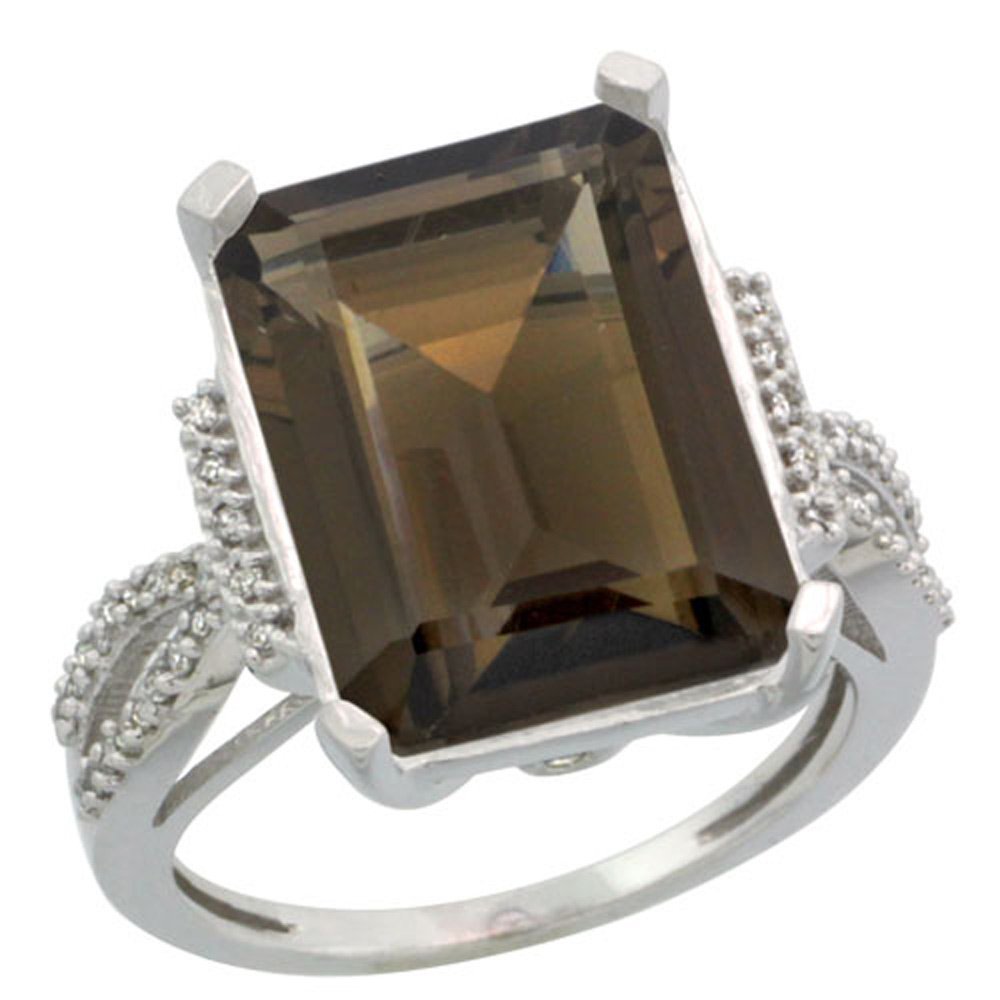 Sterling Silver Diamond Natural Smoky Topaz Ring Emerald-cut 16x12mm, 3/4 inch wide, sizes 5-10