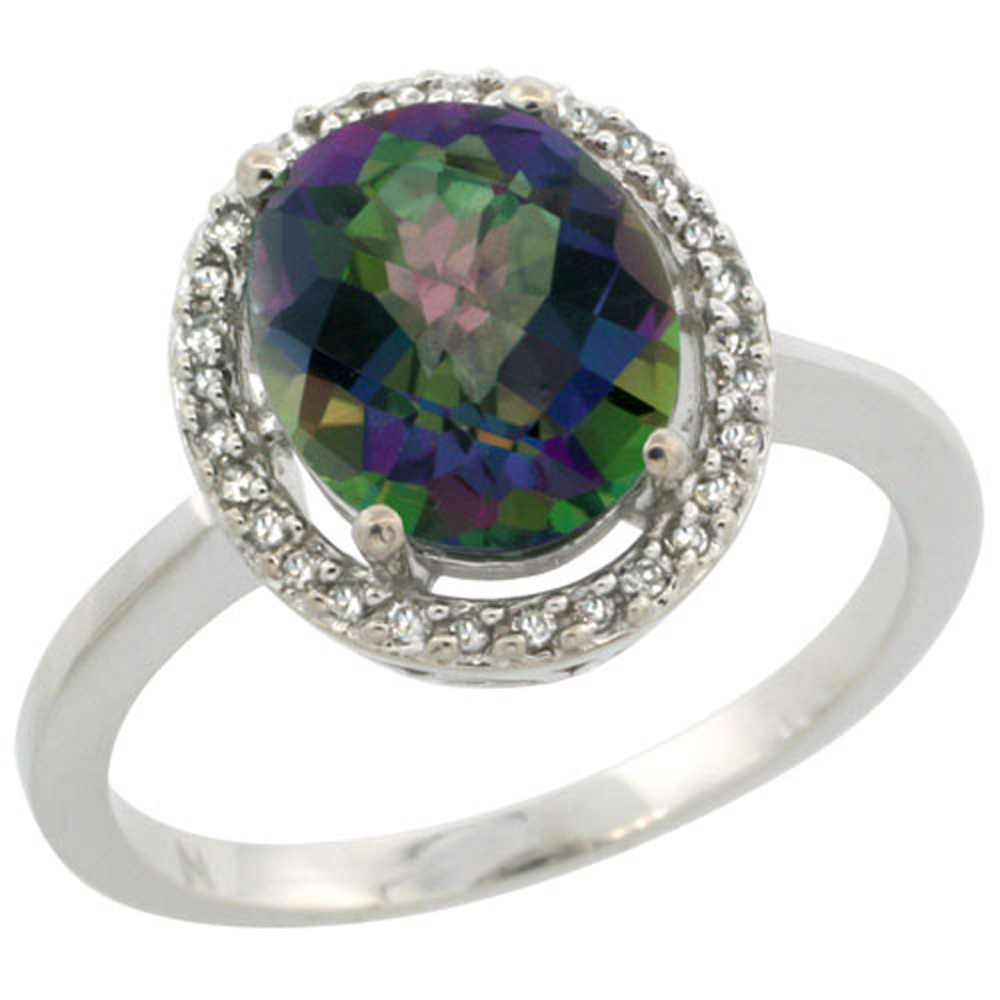 Sterling Silver Diamond Halo Mystic Topaz Ring Oval 10X8 mm, 1/2 inch wide, sizes 5-10