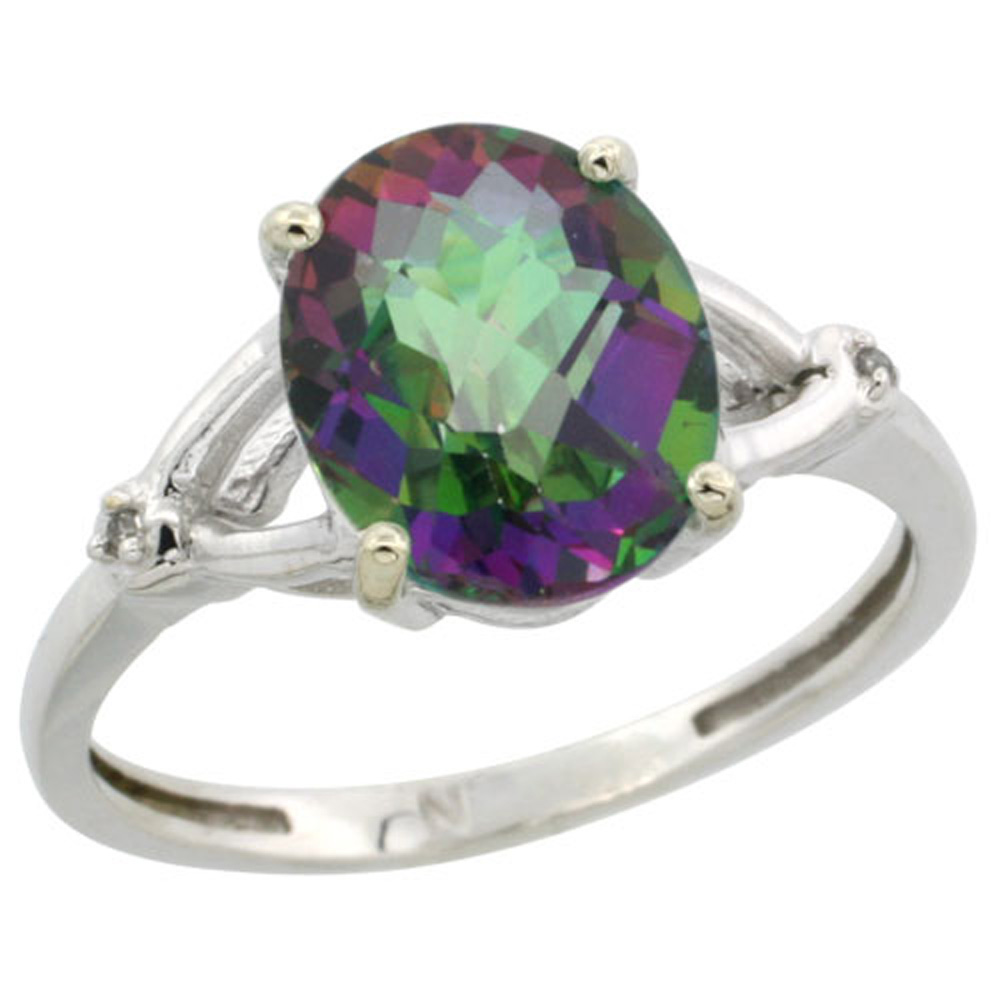 Sterling Silver Diamond Mystic Topaz Ring Oval 10x8mm, 3/8 inch wide, sizes 5-10