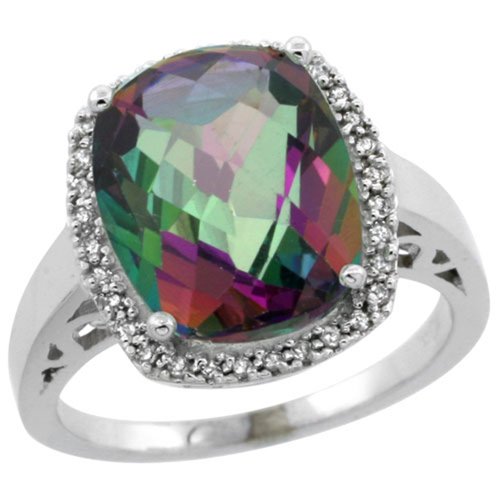 Sterling Silver Diamond Mystic Topaz Ring Cushion-cut 12x10mm, 1/2 inch wide, sizes 5-10