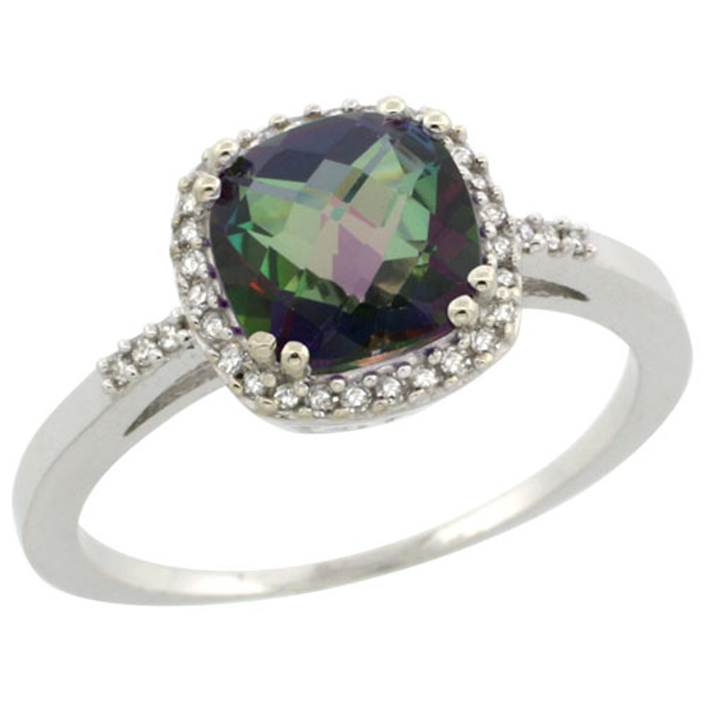 Sterling Silver Diamond Mystic Topaz Ring Cushion-cut 7x7mm, 3/8 inch wide, sizes 5-10