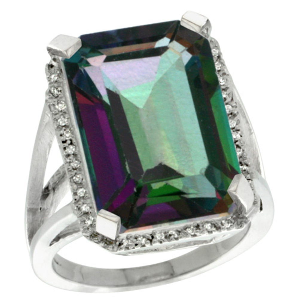 Sterling Silver Diamond Mystic Topaz Ring Emerald-cut 18x13mm, 13/16 inch wide, sizes 5-10