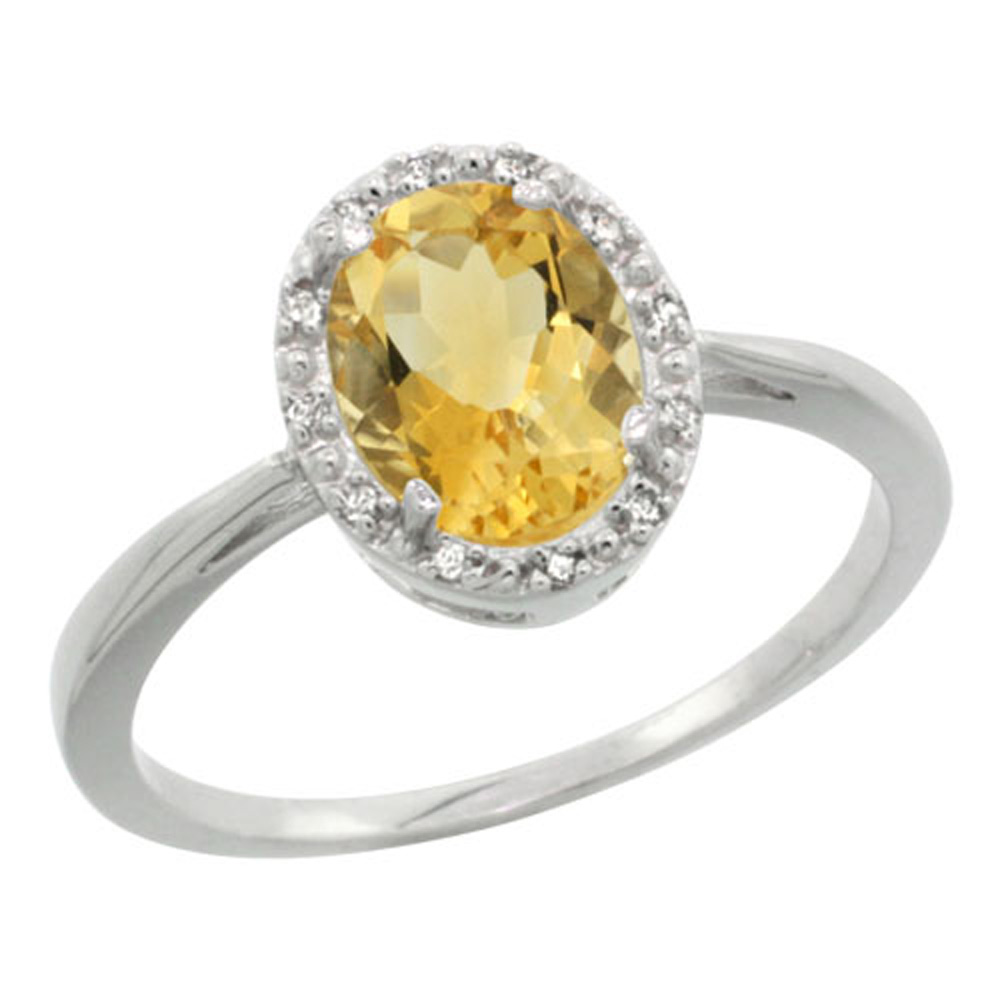 Sterling Silver Natural Citrine Diamond Halo Ring Oval 8X6mm, 1/2 inch wide, sizes 5-10