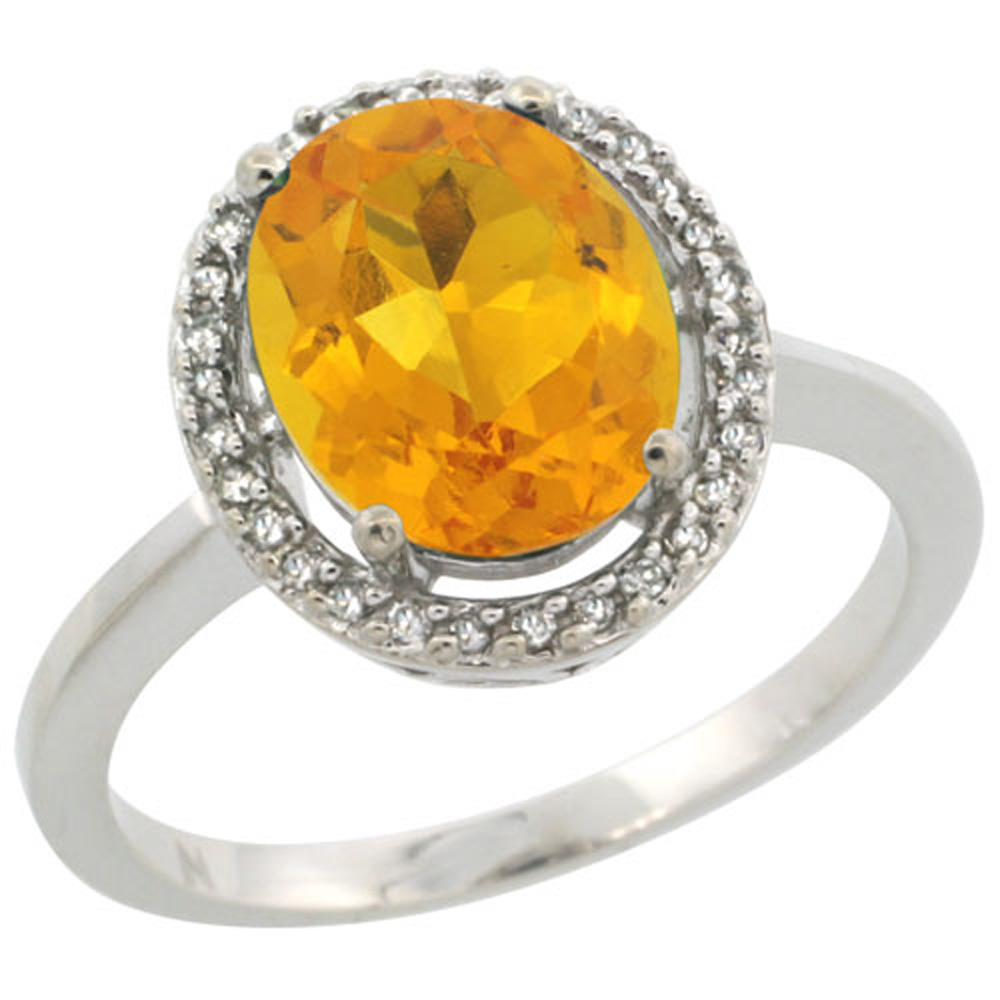 Sterling Silver Diamond Halo Natural Citrine Ring Oval 10X8 mm, 1/2 inch wide, sizes 5-10