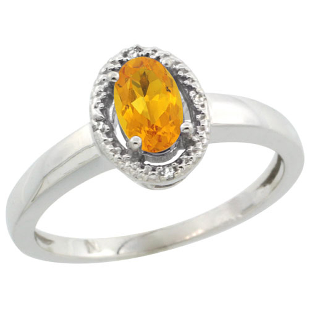 Sterling Silver Diamond Halo Natural Citrine Ring Oval 6X4 mm, 3/8 inch wide, sizes 5-10