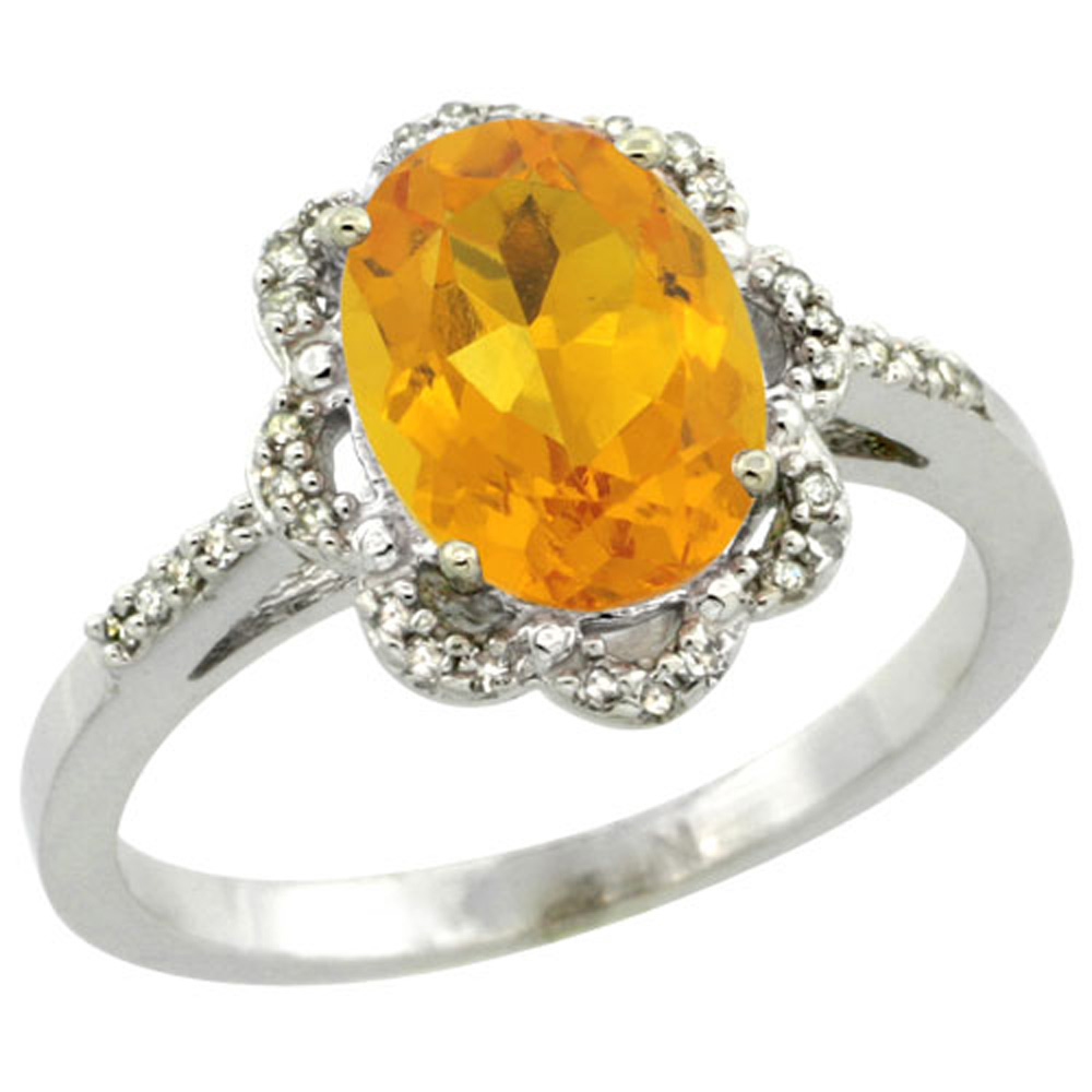Sterling Silver Diamond Halo Natural Citrine Ring Oval 9x7mm, 7/16 inch wide, sizes 5-10