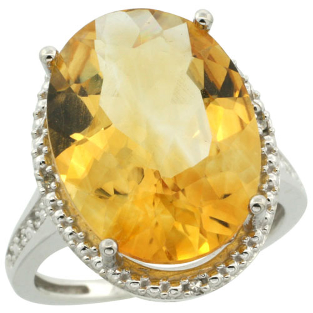 Sterling Silver Diamond Natural Citrine Ring Oval 18x13mm, 3/4 inch wide, sizes 5-10