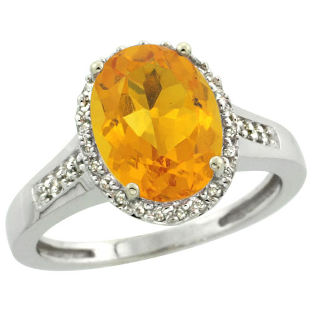 Sterling Silver Diamond Natural Citrine Ring Oval 10x8mm, 1/2 inch wide, sizes 5-10