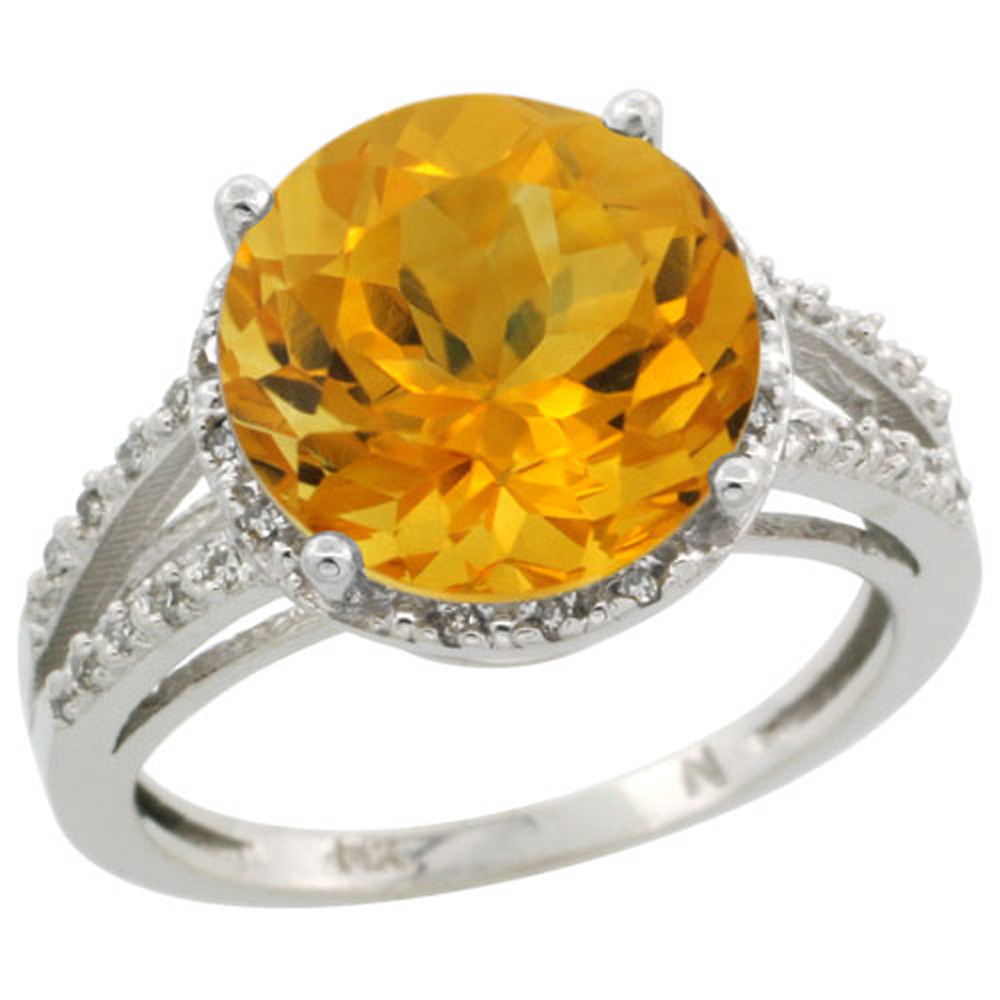Sterling Silver Diamond Natural Citrine Ring Round 11mm, 1/2 inch wide, sizes 5-10