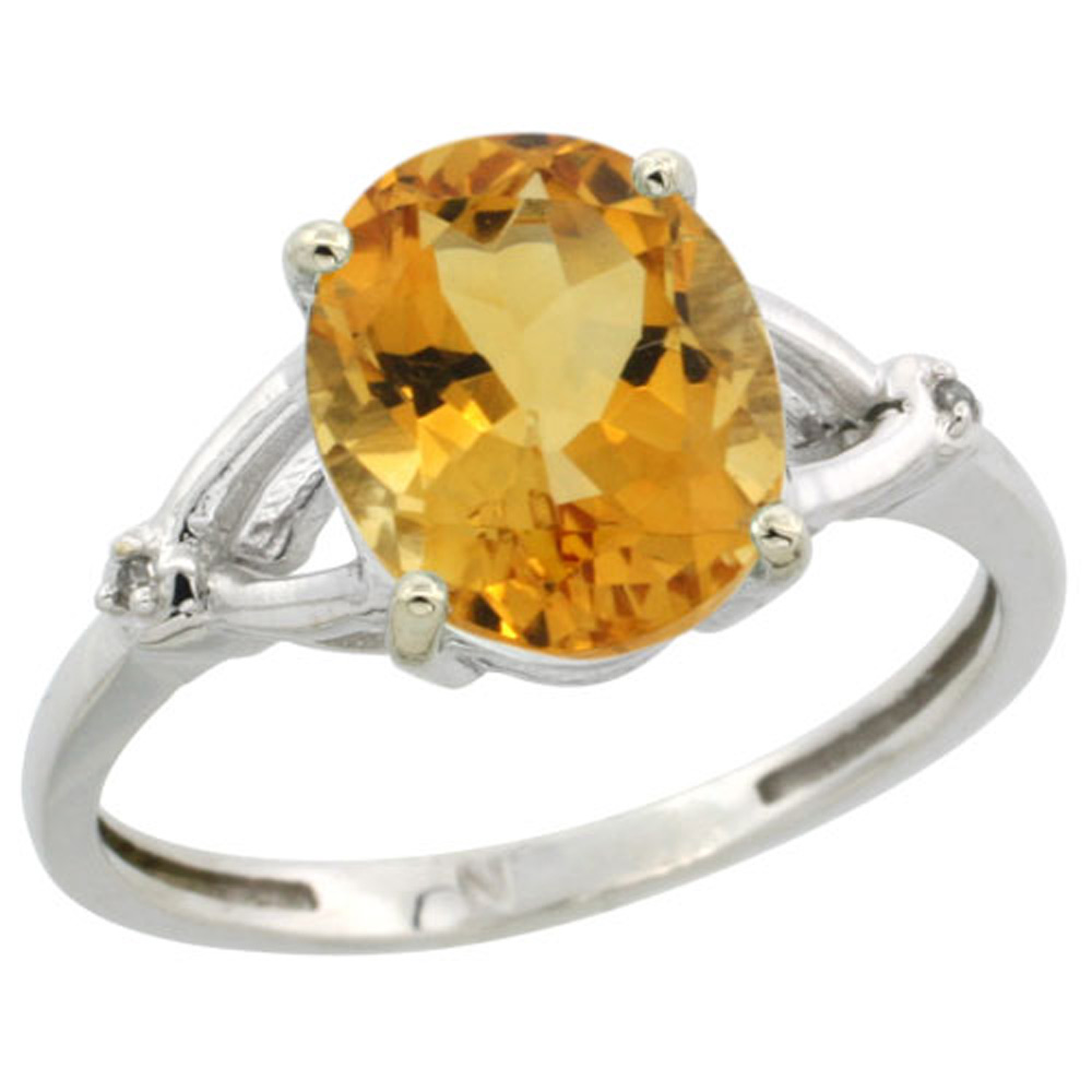 Sterling Silver Diamond Natural Citrine Ring Oval 10x8mm, 3/8 inch wide, sizes 5-10