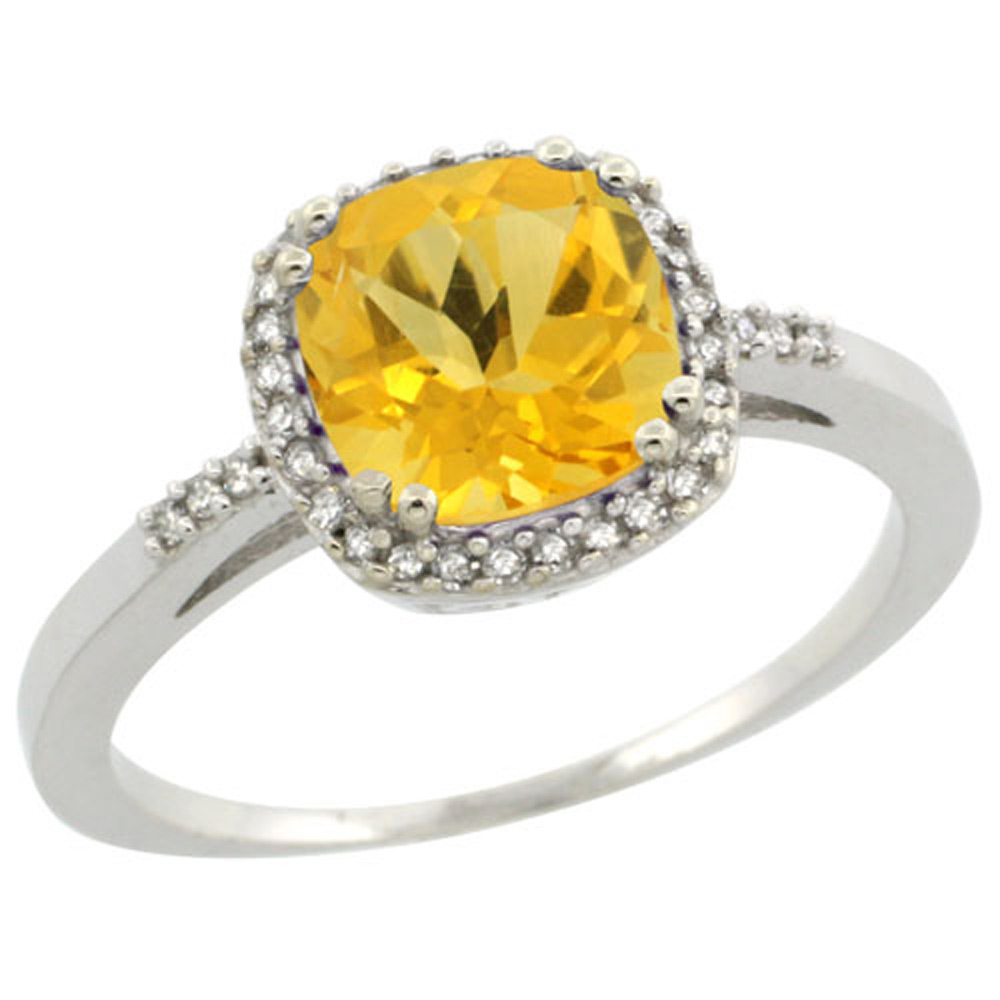 Sterling Silver Diamond Natural Citrine Ring Cushion-cut 7x7mm, 3/8 inch wide, sizes 5-10