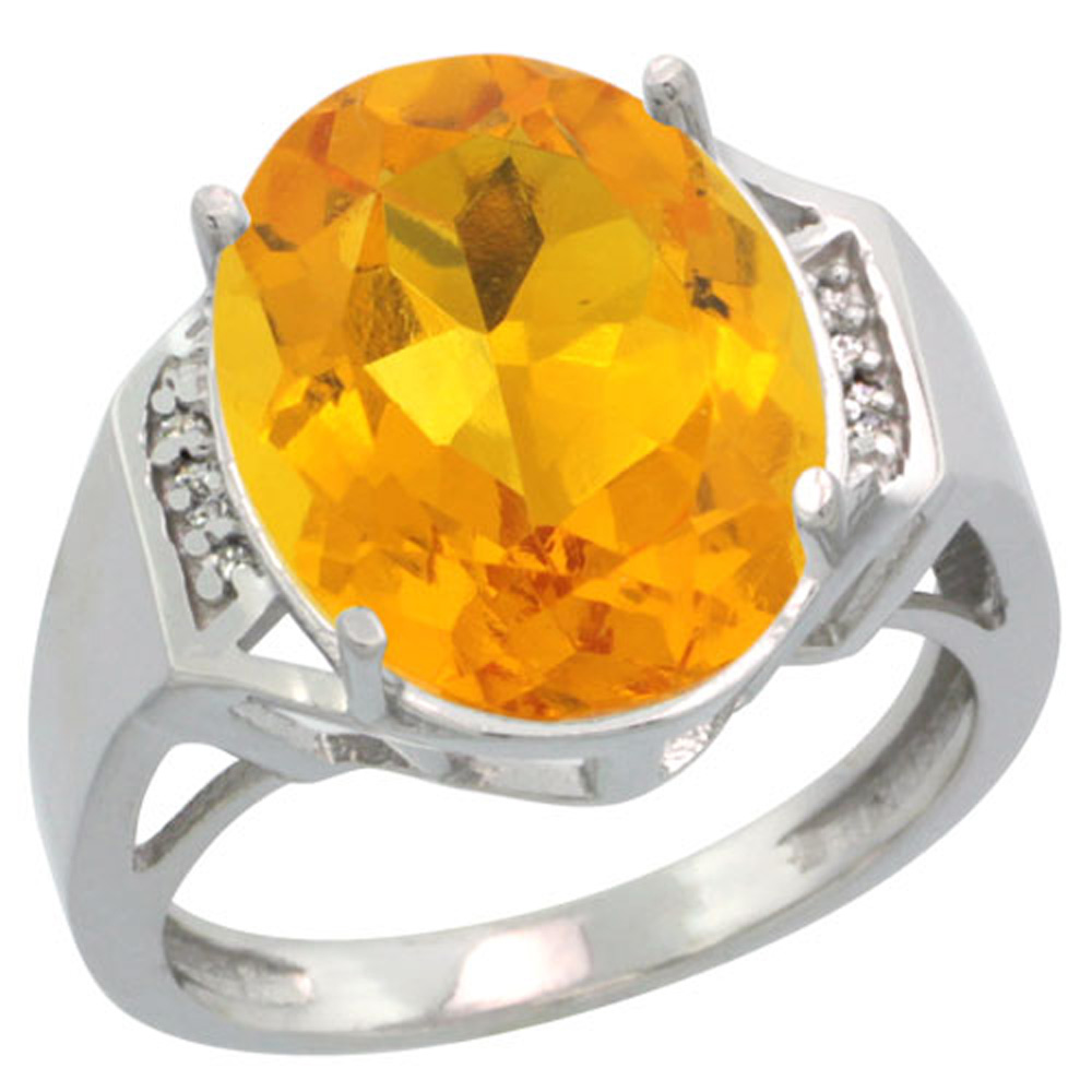 Sterling Silver Diamond Natural Citrine Ring Oval 16x12mm, 5/8 inch wide, sizes 5-10