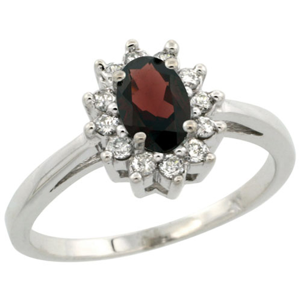 Sterling Silver Natural Garnet Diamond Flower Halo Ring Oval 6X4mm, 3/8 inch wide, sizes 5-10