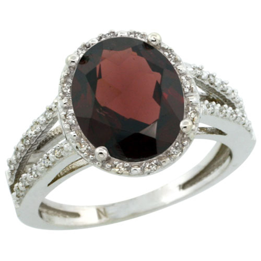 Sterling Silver Diamond Halo Natural Garnet Ring Oval 11x9mm, 7/16 inch wide, sizes 5-10