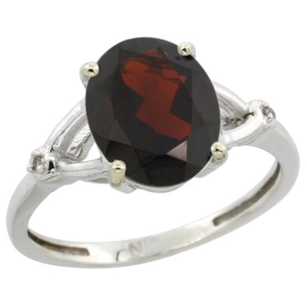 Sterling Silver Diamond 10x8mm Oval Natural Garnet Engagement Ring for Women 3/8 inch wide Sizes 5-10
