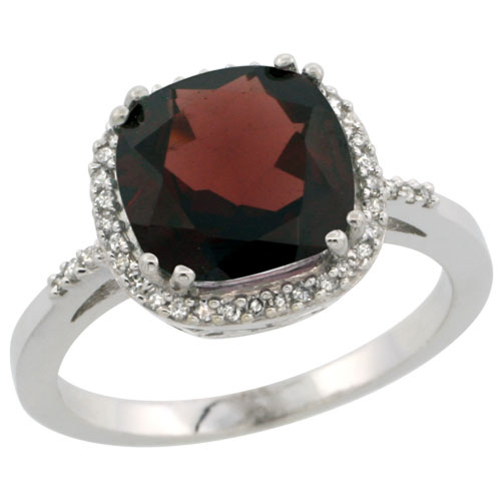 Sterling Silver Diamond Natural Garnet Ring Cushion-cut 9x9mm, 1/2 inch wide, sizes 5-10