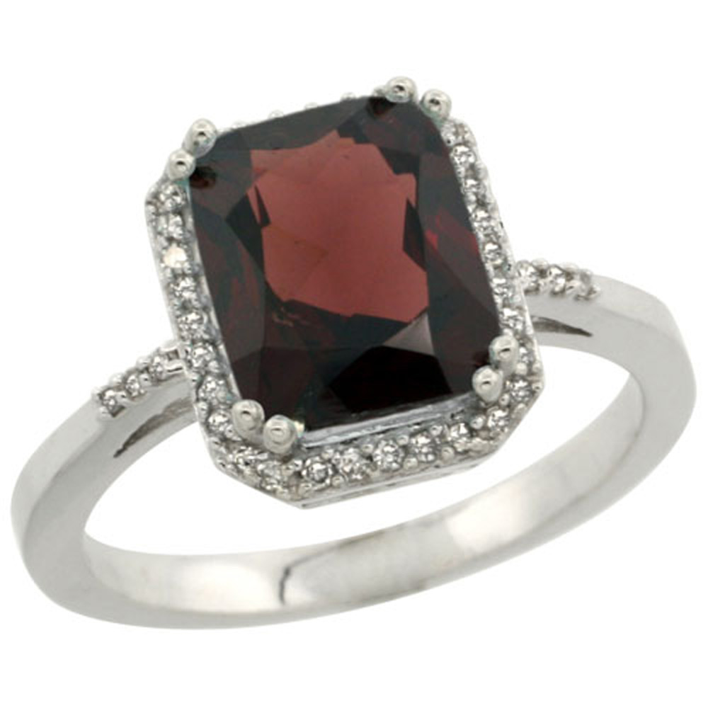 Sterling Silver Diamond Enhanced Ruby Ring Emerald-cut 9x7 mm, sizes 5-10
