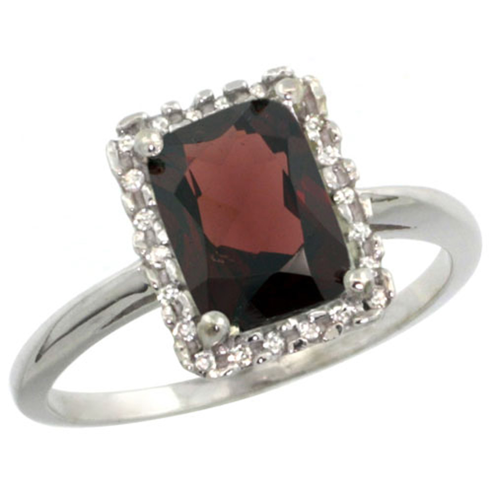 Sterling Silver Diamond Enhanced Ruby Ring Emerald-cut 8x6 mm, sizes 5-10