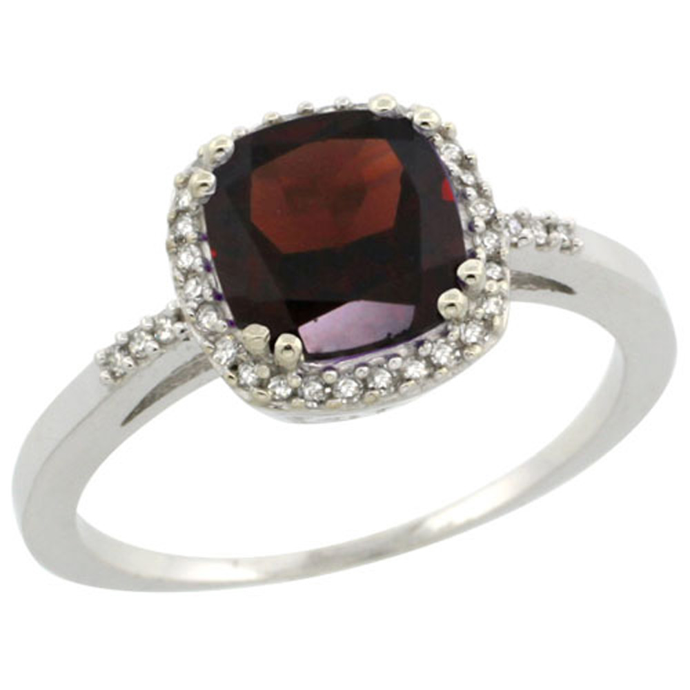 Sterling Silver Diamond Natural Garnet Ring Cushion-cut 7x7mm, 3/8 inch wide, sizes 5-10