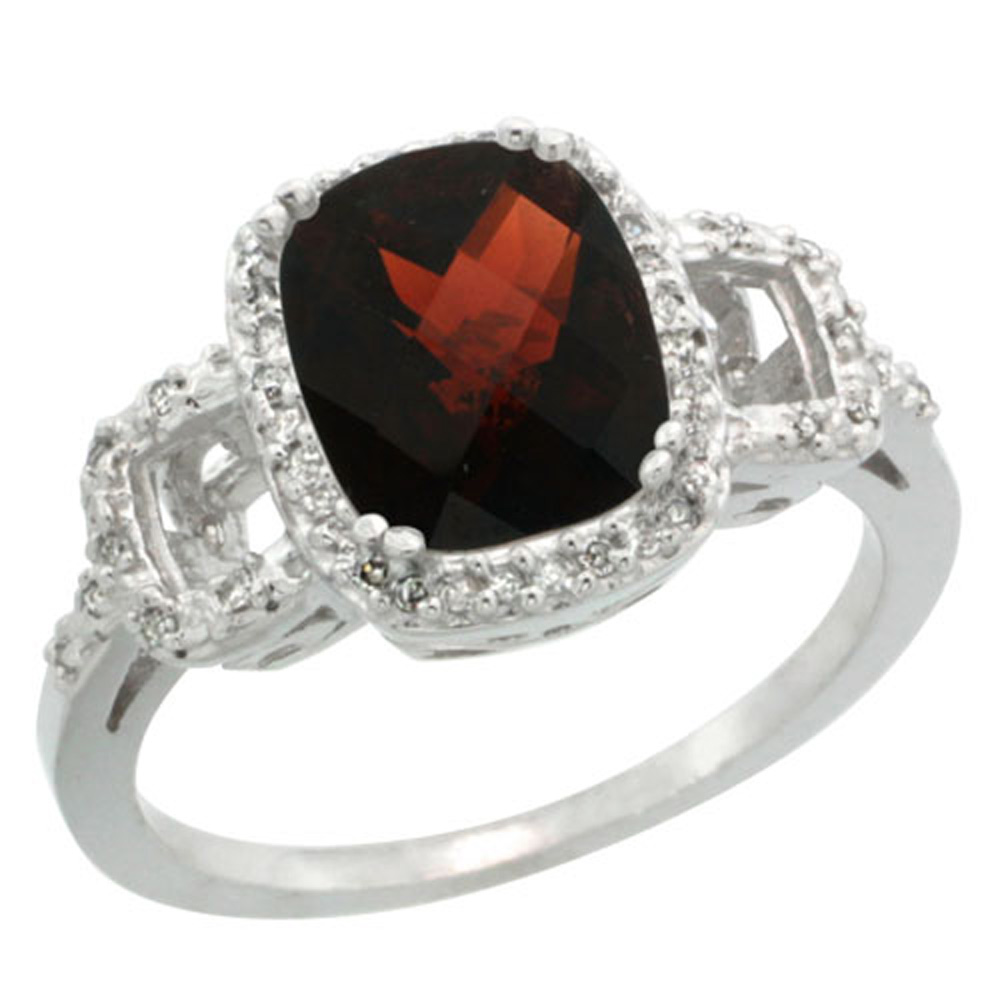 Sterling Silver Diamond Natural Garnet Ring Cushion-cut 9x7mm, 1/2 inch wide, sizes 5-10