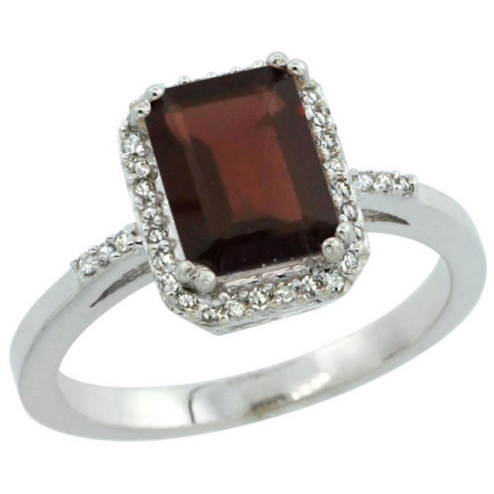 Sterling Silver Diamond Enhanced Ruby Ring Emerald-cut 8x6 mm, sizes 5-10