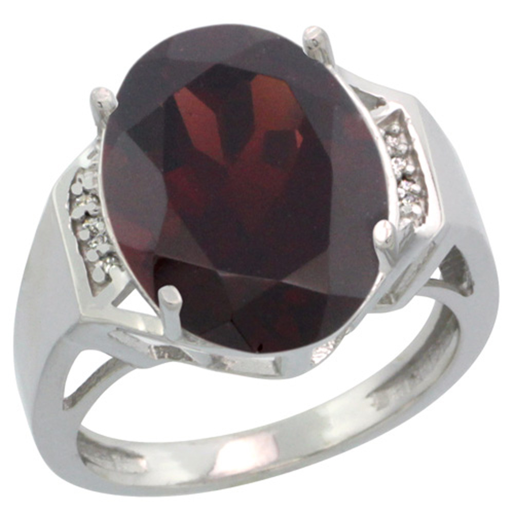 Sterling Silver Diamond Natural Garnet Ring Oval 16x12mm, 5/8 inch wide, sizes 5-10
