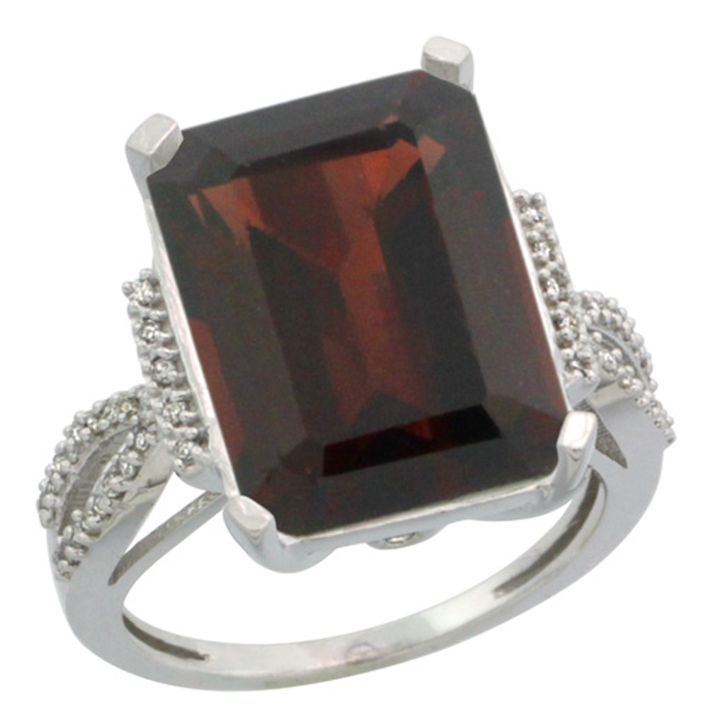 Sterling Silver Diamond Natural Garnet Ring Emerald-cut 16x12mm, 3/4 inch wide, sizes 5-10