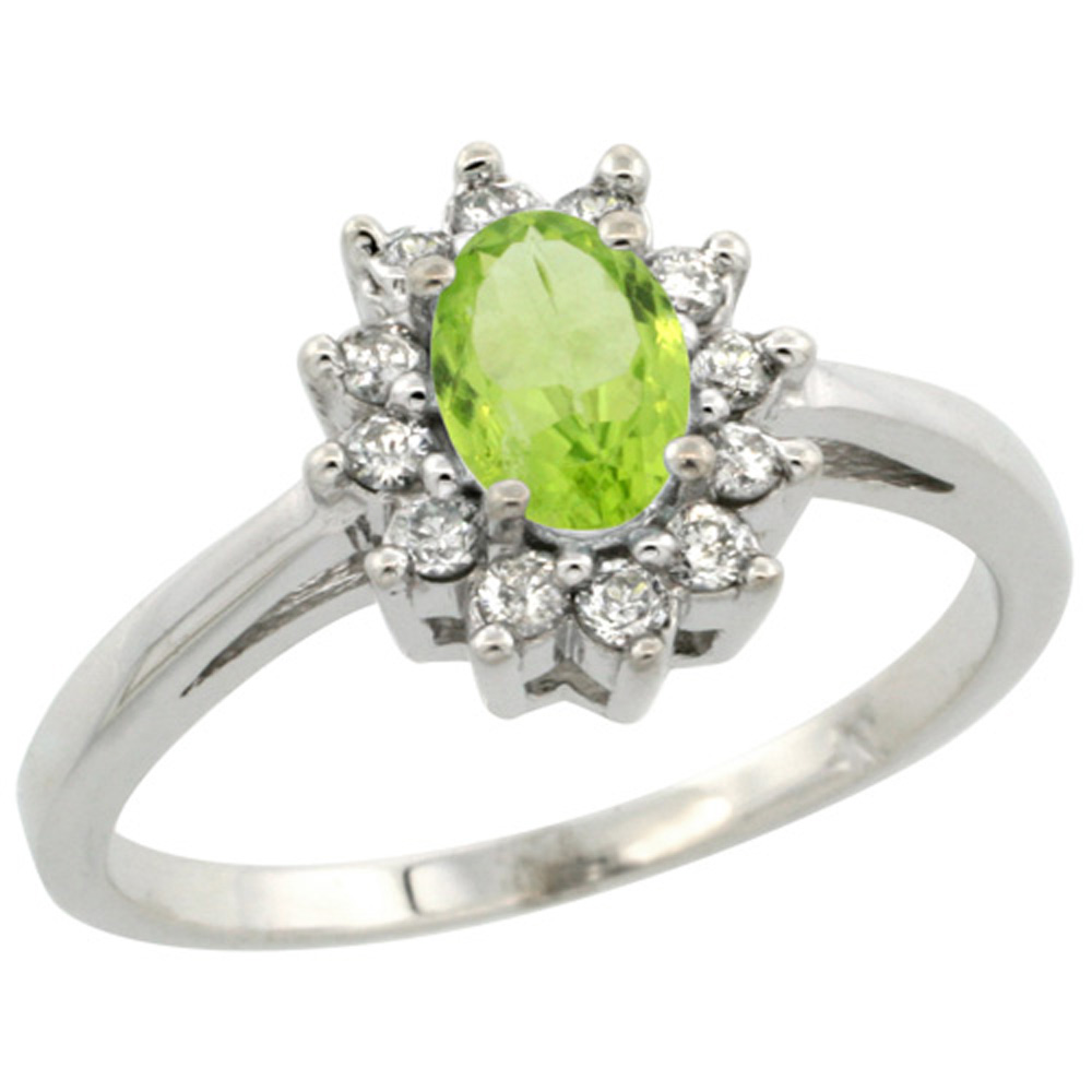 Sterling Silver Natural Peridot Diamond Flower Halo Ring Oval 6X4mm, 3/8 inch wide, sizes 5 10