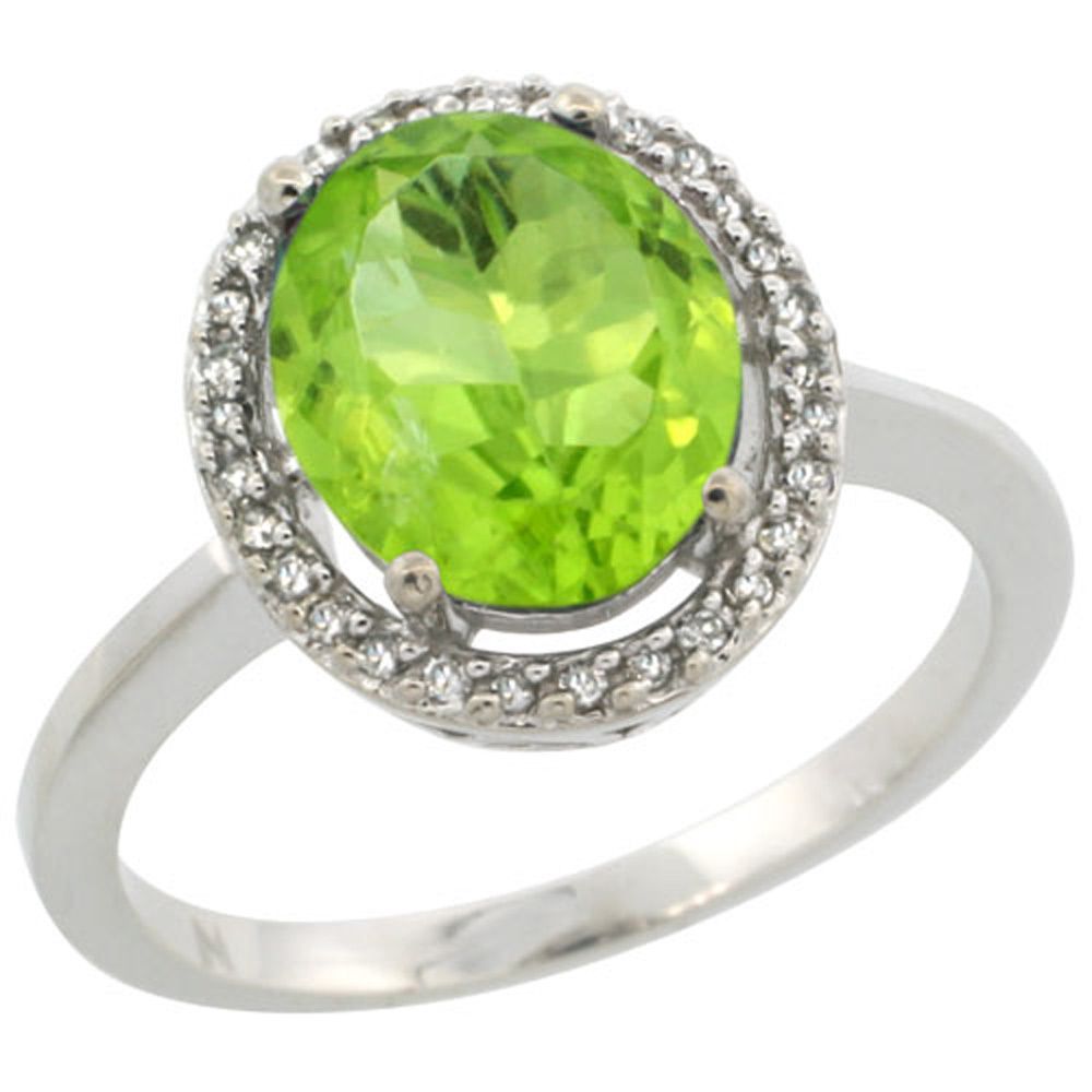 Sterling Silver Diamond Halo Natural Peridot Ring Oval 10X8 mm, 1/2 inch wide, sizes 5-10