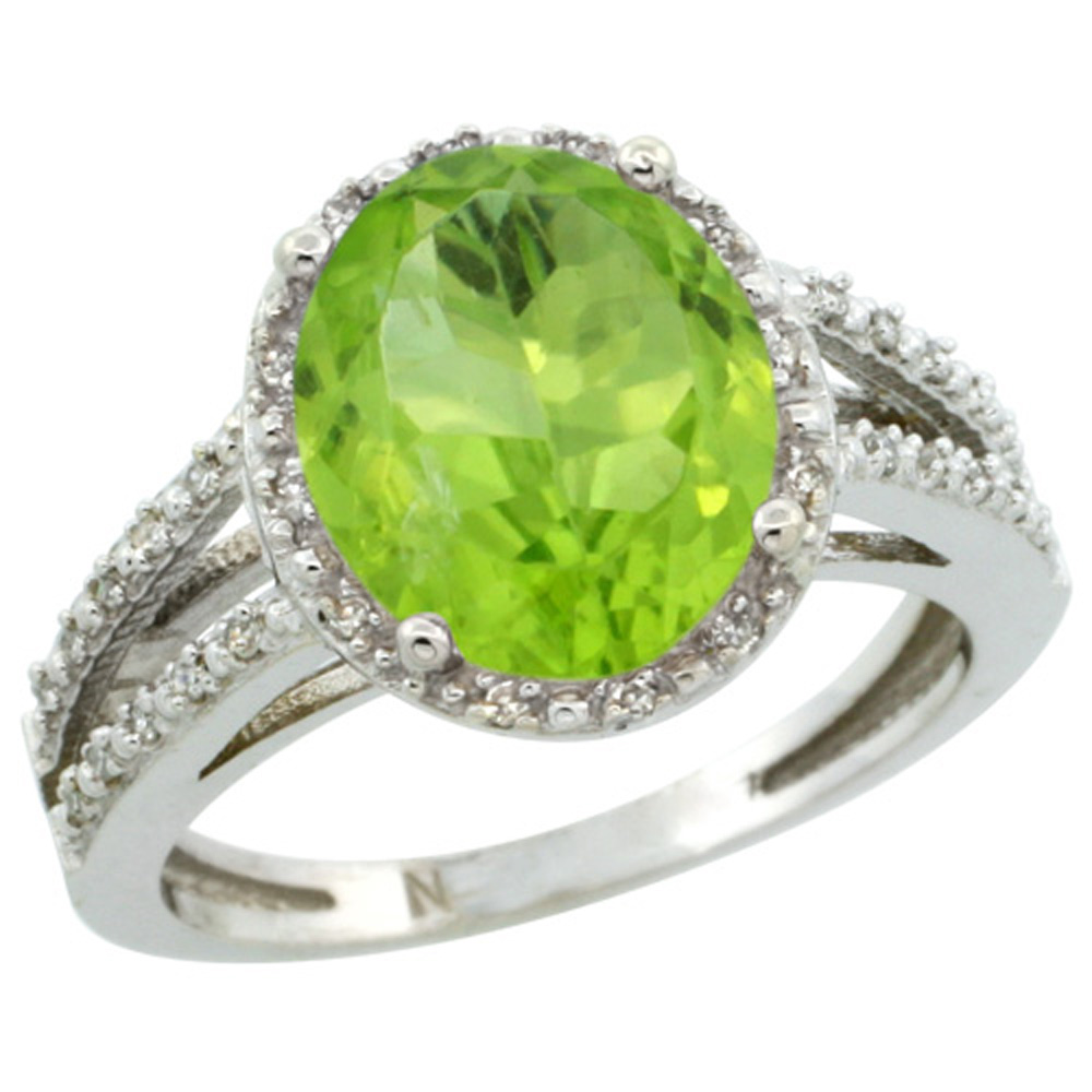 Sterling Silver Diamond Halo Natural Peridot Ring Oval 11x9mm, 7/16 inch wide, sizes 5-10