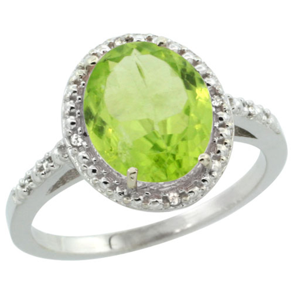 Sterling Silver Diamond Natural Peridot Ring Oval 10x8mm, 1/2 inch wide, sizes 5-10