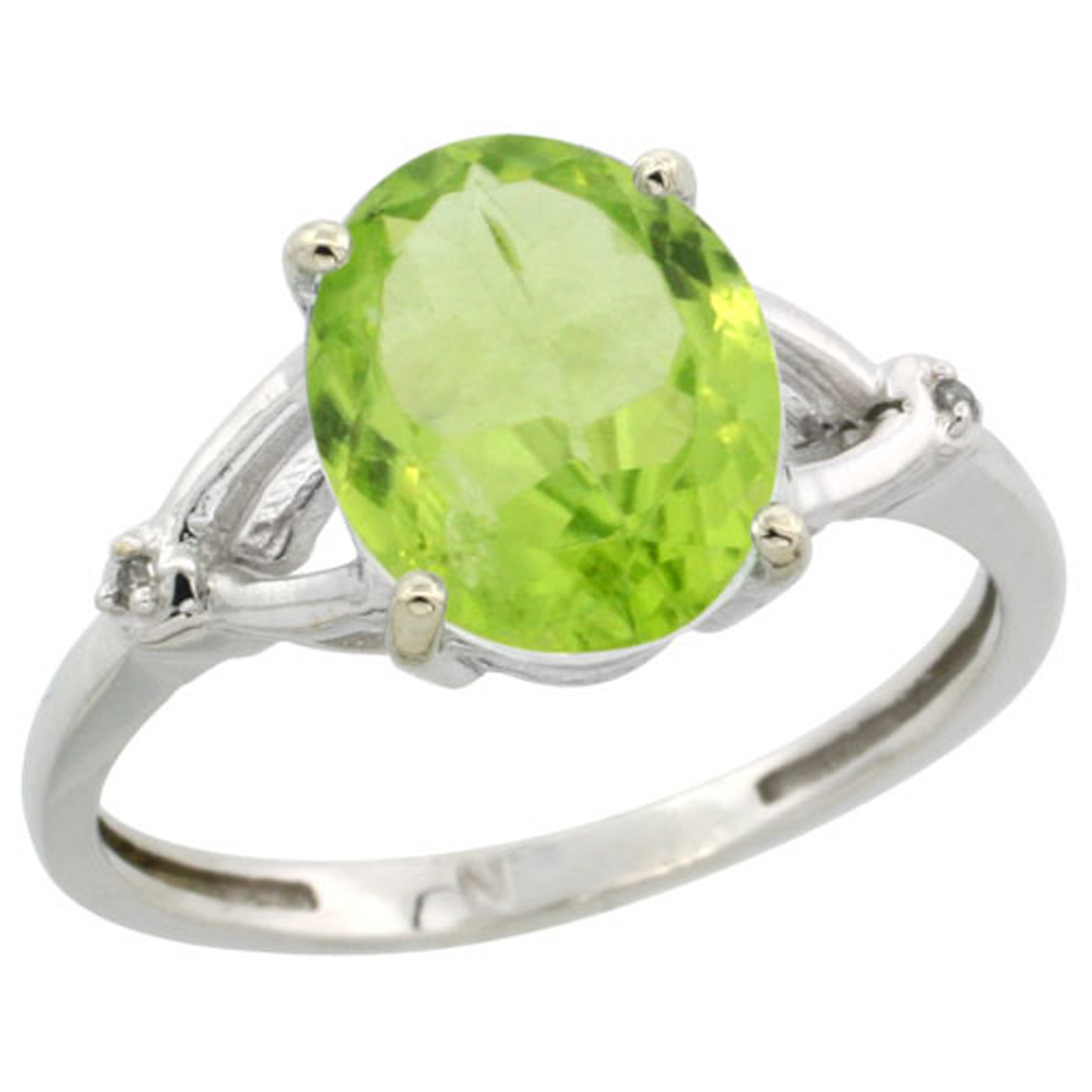 Sterling Silver Diamond 10x8mm Oval Natural Peridot Engagement Ring for Women 3/8 inch wide Sizes 5-10