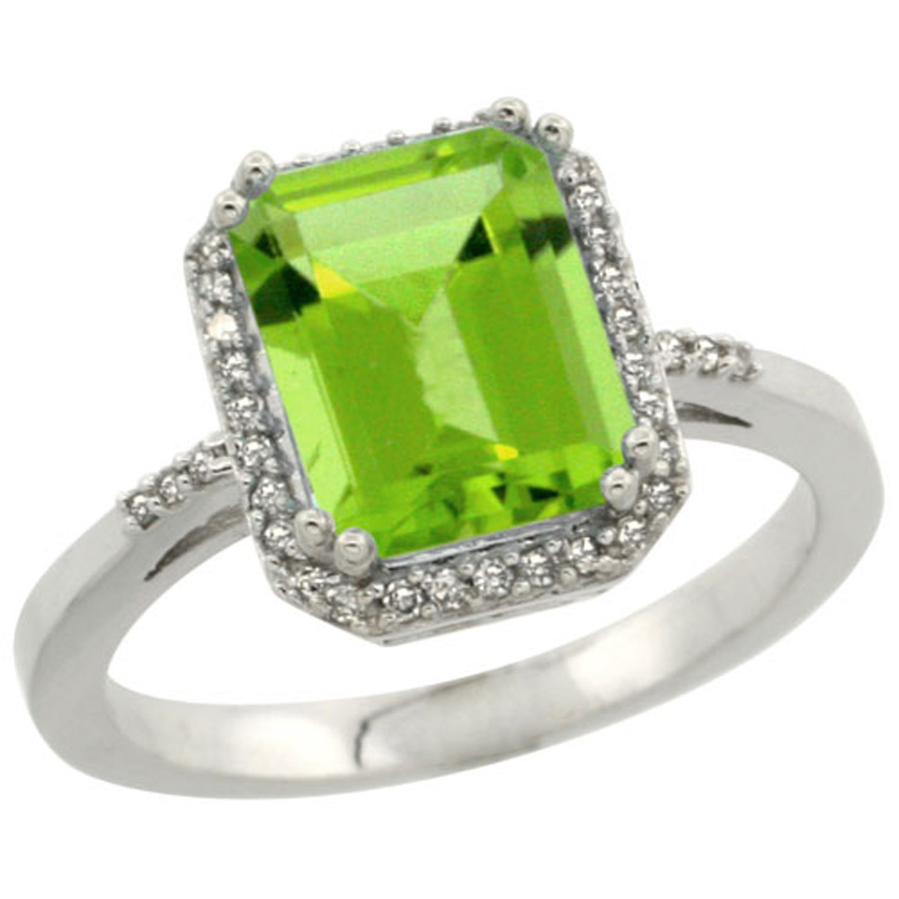 Sterling Silver Diamond Natural Peridot Ring Emerald-cut 9x7mm, 1/2 inch wide, sizes 5-10