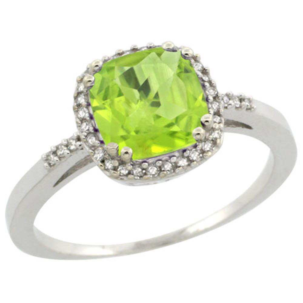 Sterling Silver Diamond Natural Peridot Ring Cushion-cut 7x7mm, 3/8 inch wide, sizes 5-10