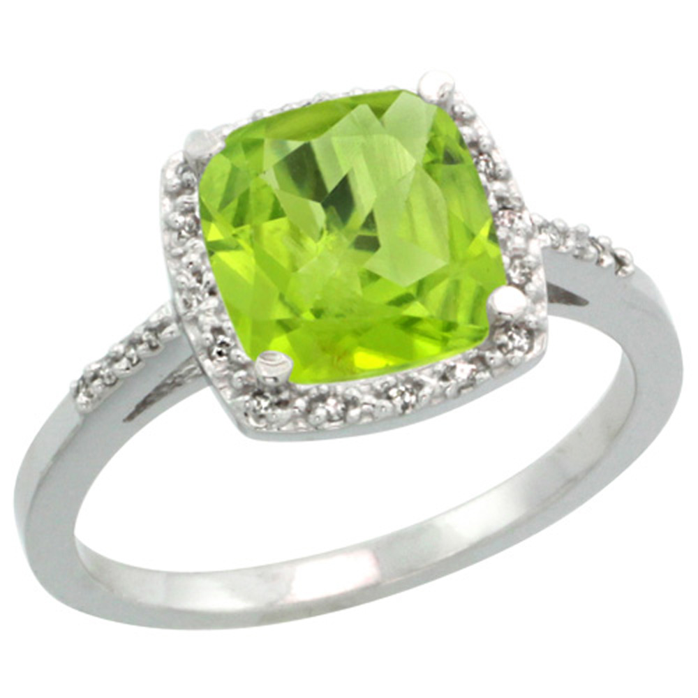 Sterling Silver Diamond Natural Peridot Ring Cushion-cut 8x8mm, 1/2 inch wide, sizes 5-10
