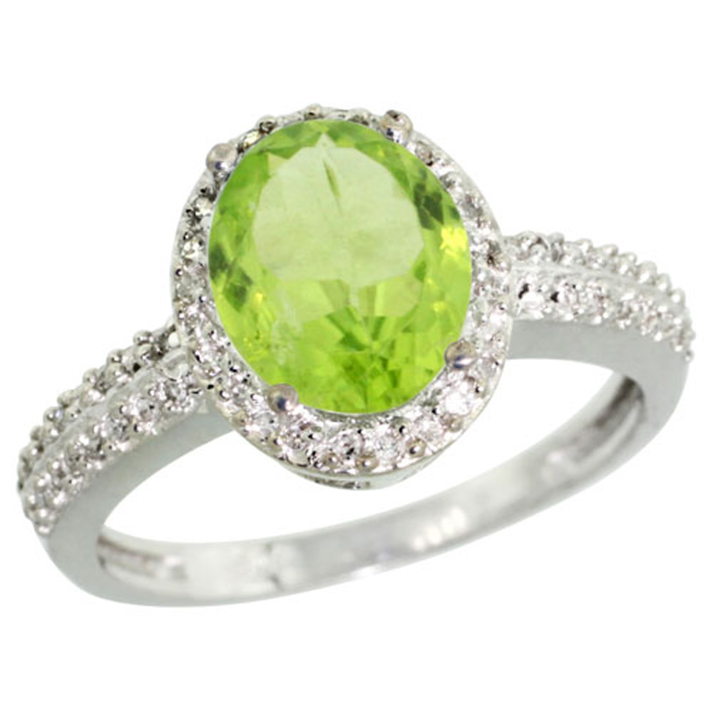 Sterling Silver Diamond Natural Peridot Ring Oval 9x7mm, 1/2 inch wide, sizes 5-10