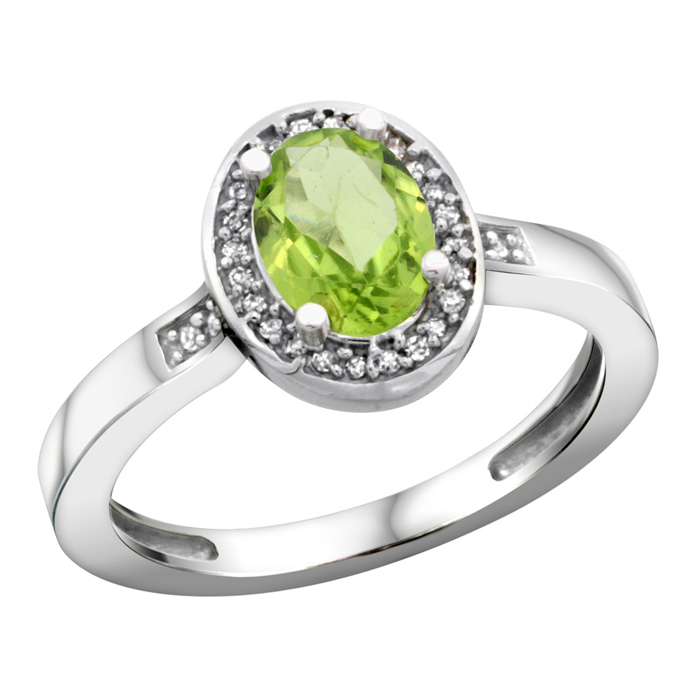 Sterling Silver Diamond Natural Peridot Ring Oval 7x5mm, 1/2 inch wide, sizes 5-10