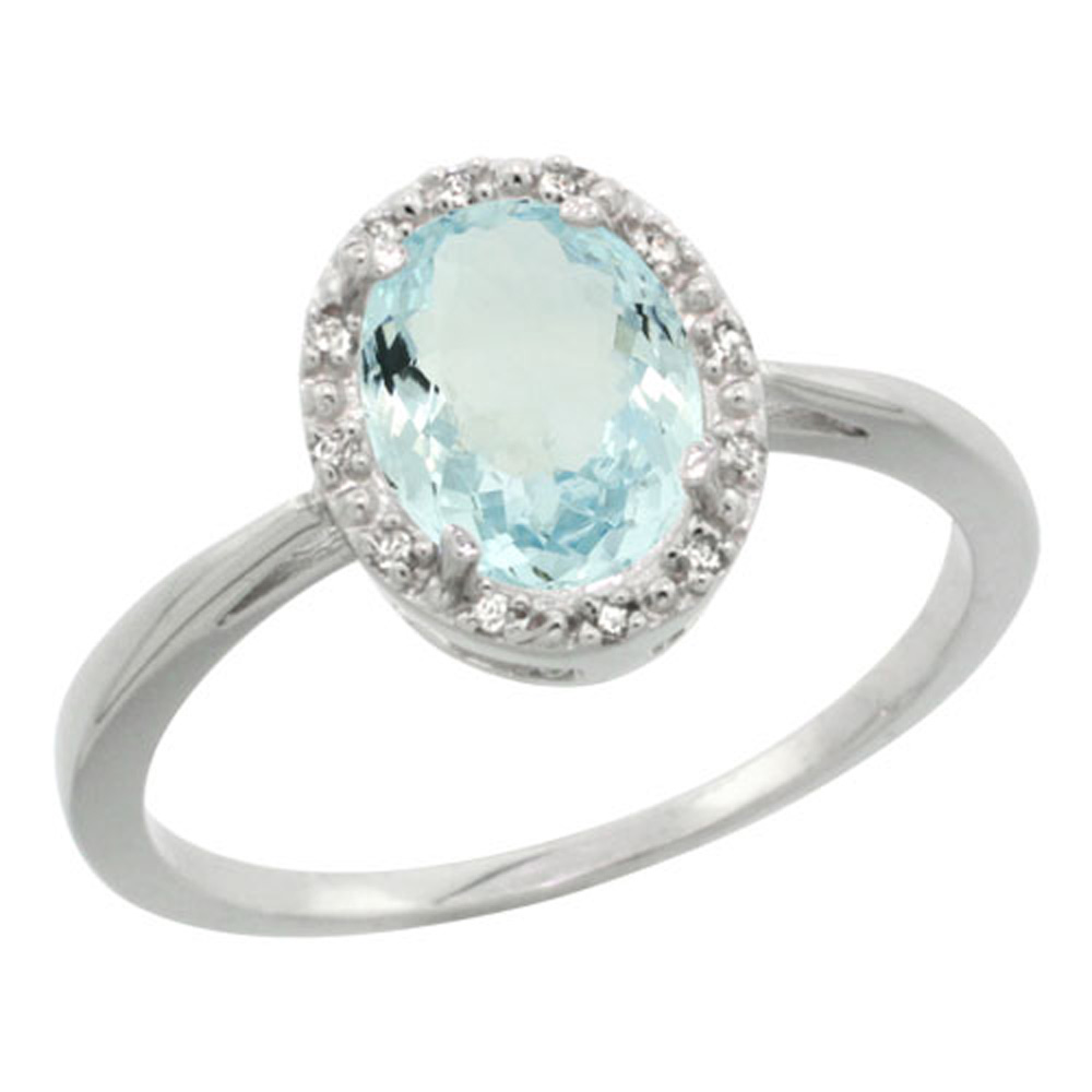Sterling Silver Natural Aquamarine Diamond Halo Ring Oval 8X6mm, 1/2 inch wide, sizes 5-10