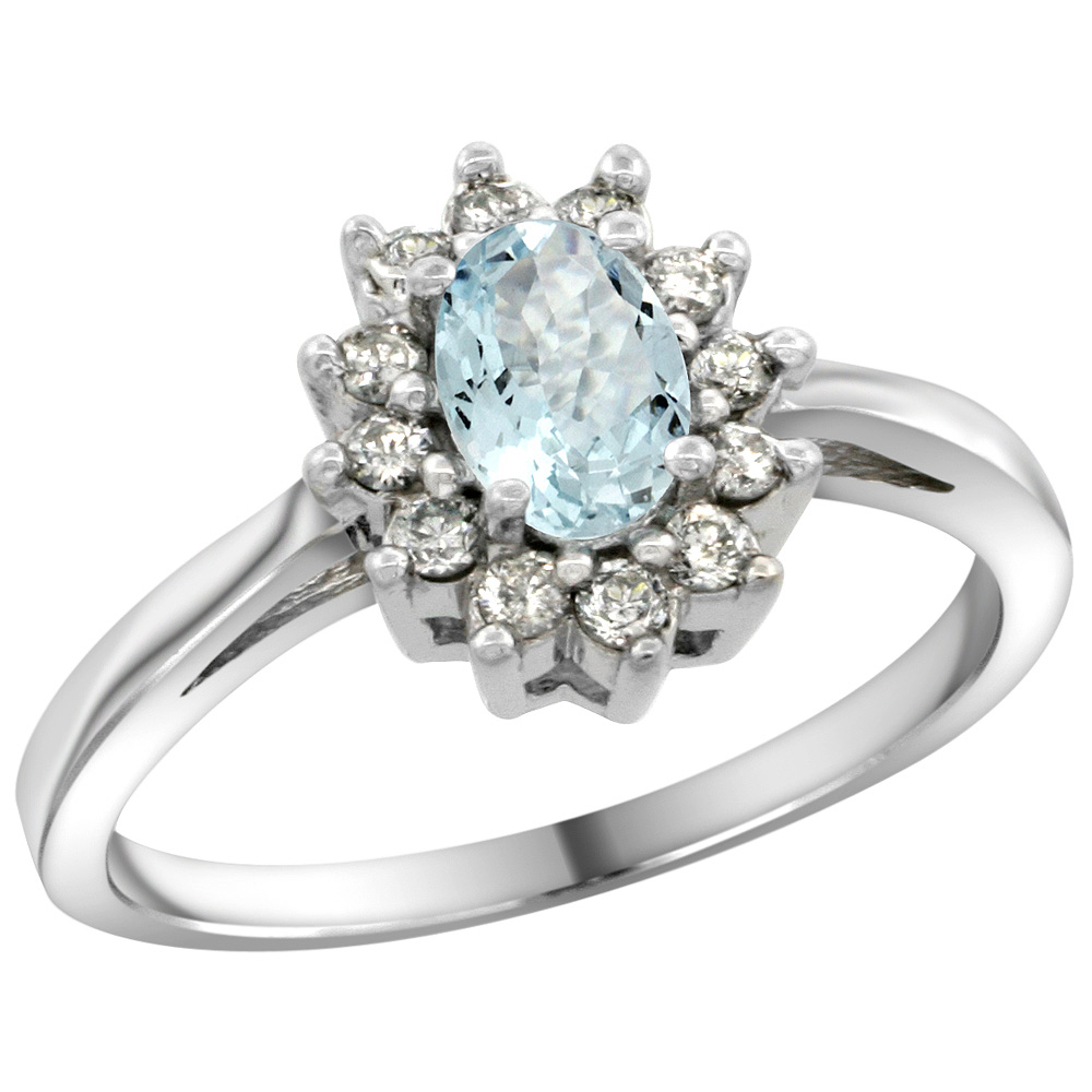 Sterling Silver Natural Aquamarine Diamond Flower Halo Ring Oval 6X4mm, 3/8 inch wide, sizes 5 10