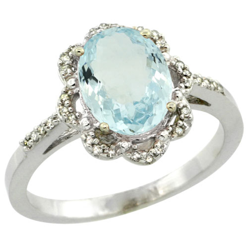 Sterling Silver Diamond Halo Natural Aquamarine Ring Oval 9x7mm, 7/16 inch wide, sizes 5-10