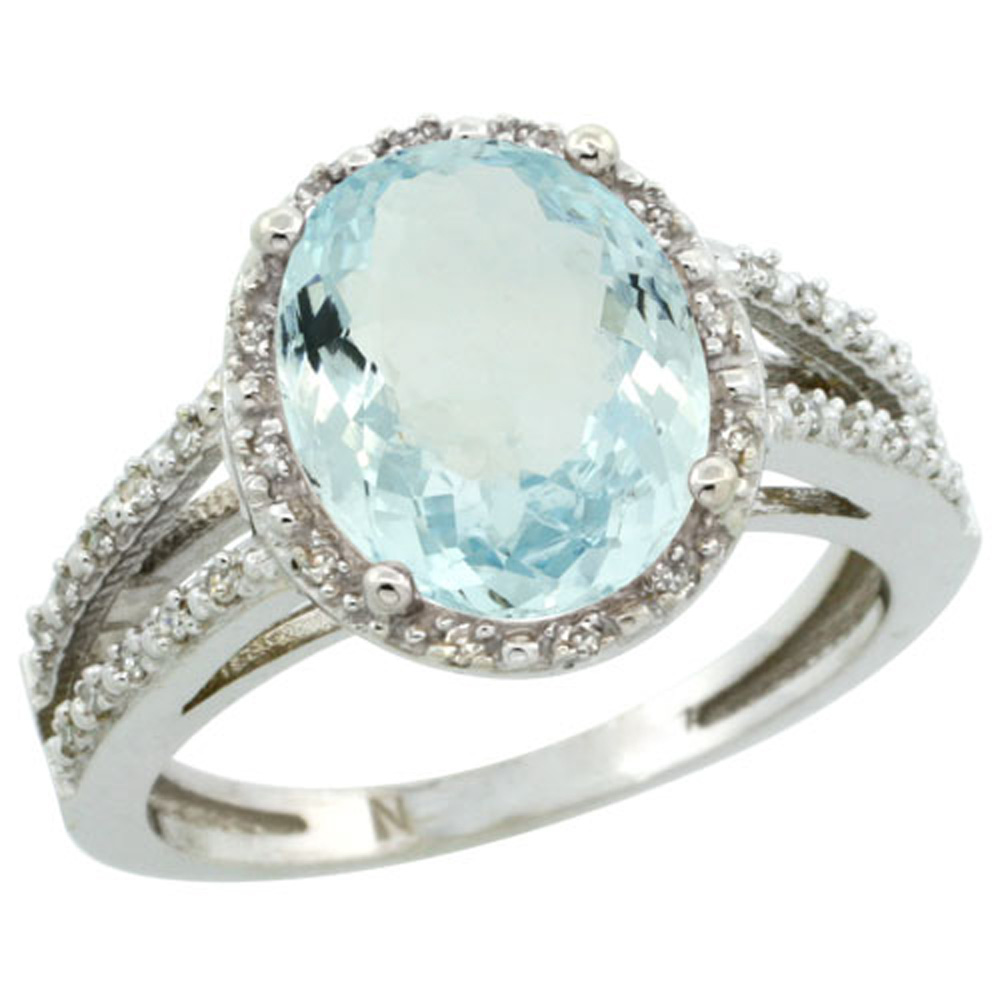 Sterling Silver Diamond Halo Natural Aquamarine Ring Oval 11x9mm, 7/16 inch wide, sizes 5-10