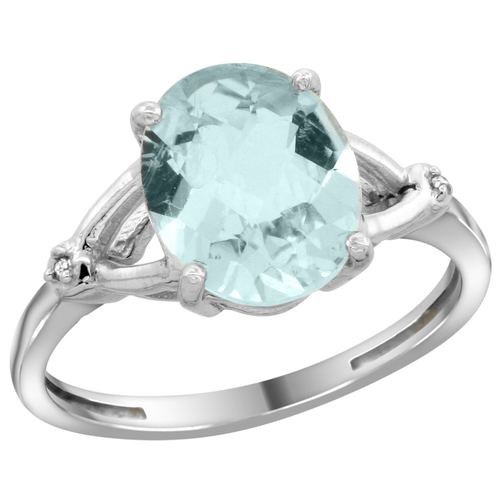 Sterling Silver Diamond Natural Aquamarine Ring Oval 10x8mm, 3/8 inch wide, sizes 5-10