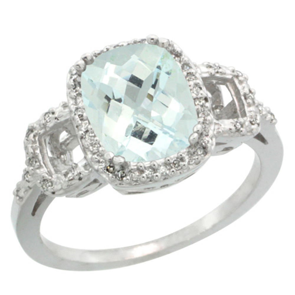 Sterling Silver Diamond Natural Aquamarine Ring Cushion-cut 9x7mm, 1/2 inch wide, sizes 5-10