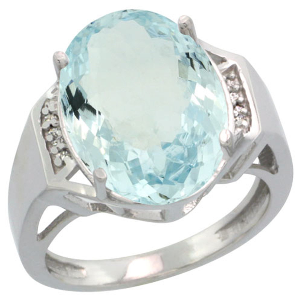 Sterling Silver Diamond Natural Aquamarine Ring Oval 16x12mm, 5/8 inch wide, sizes 5-10